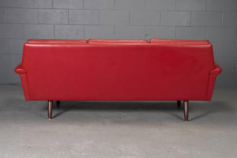 20th Century Red Leather Danish Modern Sofa For Sale