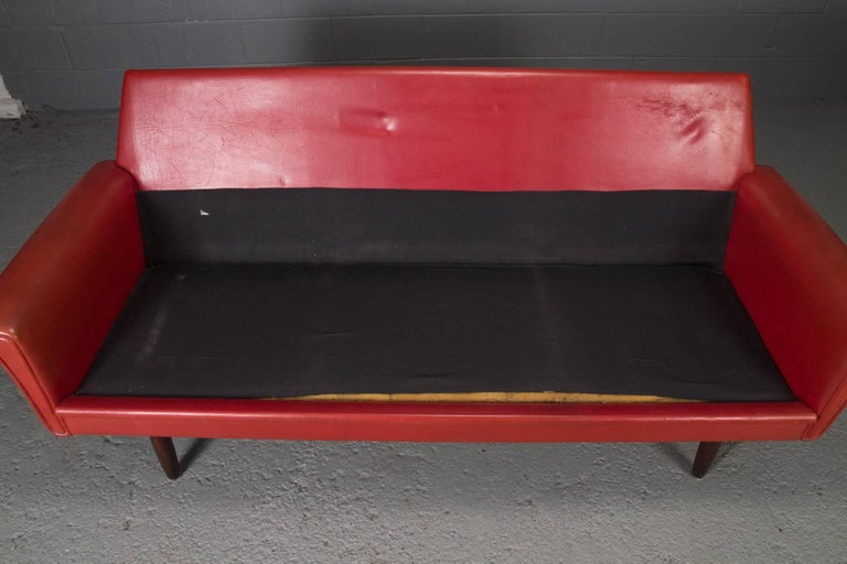 Red Leather Danish Modern Sofa For Sale 5