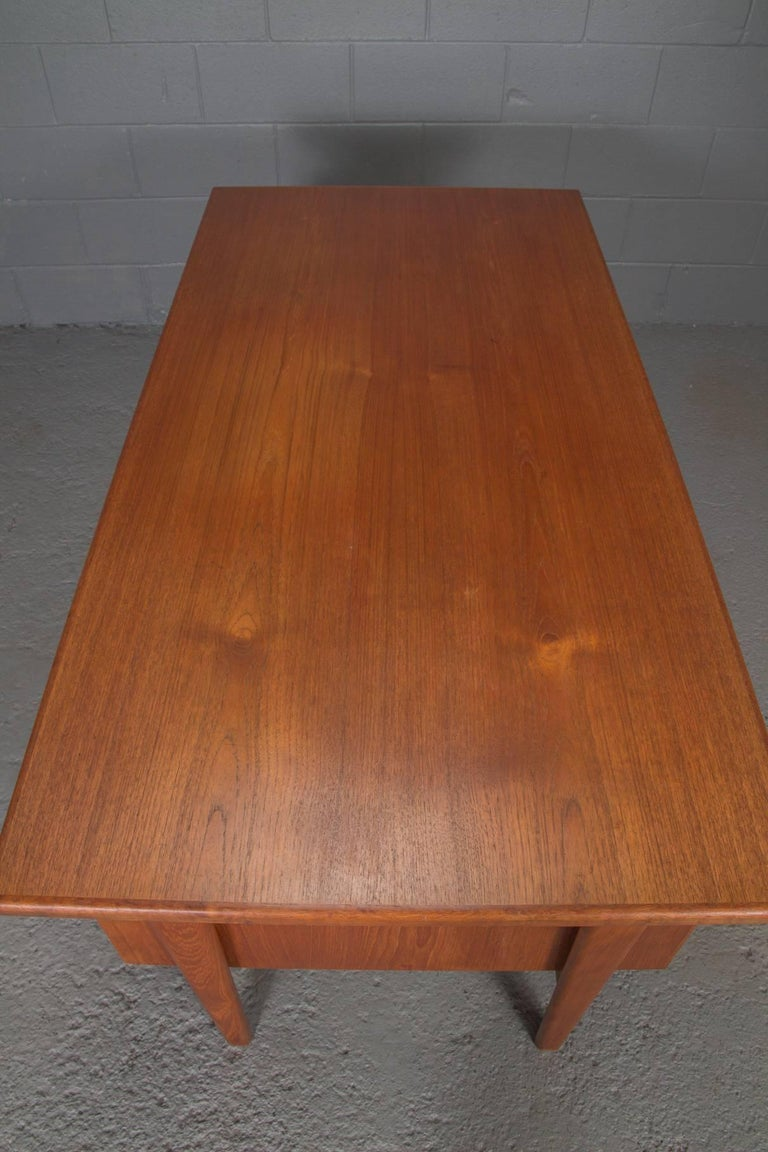 Danish Teak Desk with Floating Top by Kai Kristensen In Excellent Condition For Sale In Belmont, MA