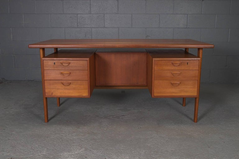 Danish Teak Desk with Floating Top by Kai Kristensen For Sale 5