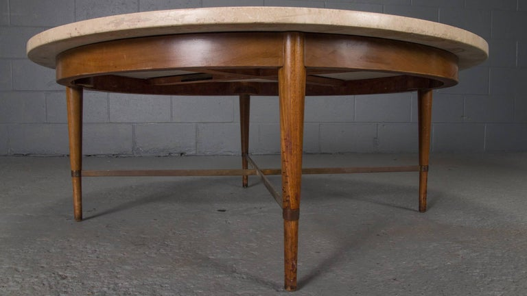 Mid-Century Modern Round Travertine Cocktail Table by Paul McCobb for the Connoisseur Collection For Sale