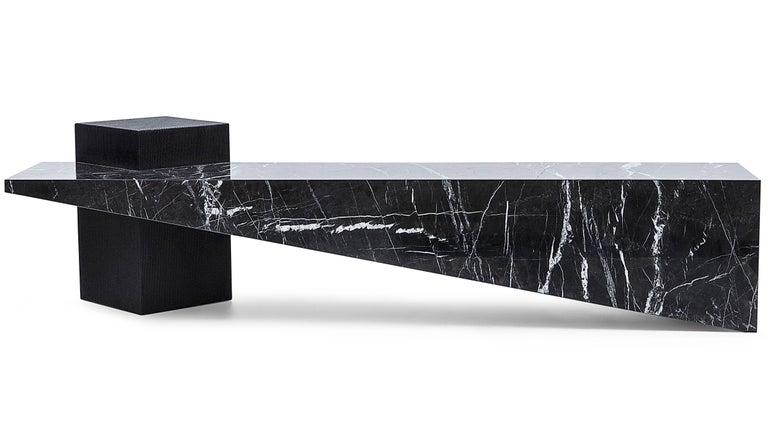 Slimstone Bench in Black Marble, Minimalist Brazilian Design  In New Condition For Sale In Sao Paulo, SP