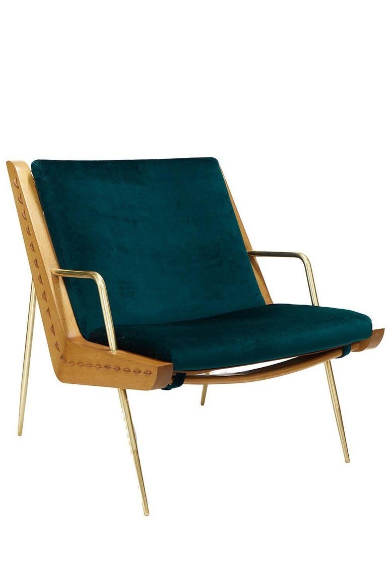 Mexican Midcentury Inspired Walt Lounge Chair and Ottoman For Sale