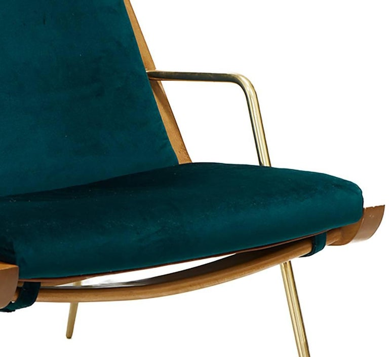 Contemporary Midcentury Inspired Walt Chair & Ottoman, Wood, Solid Brass, Velvet and Leather For Sale