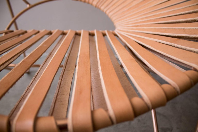Handwoven Midcentury Inspired Cali Lounge Chair, Copper Plating and Leather In New Condition For Sale In Mexico City, Delegación Cuauhtémoc
