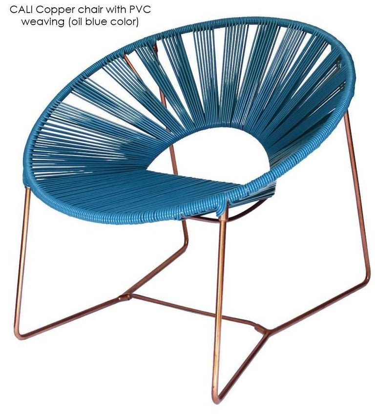 Handwoven Midcentury Inspired Cali Lounge Chair, Copper Plating and Leather For Sale 3