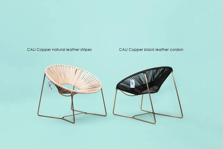 Handwoven Midcentury Inspired Cali Lounge Chair, Copper Plating and Leather For Sale 1