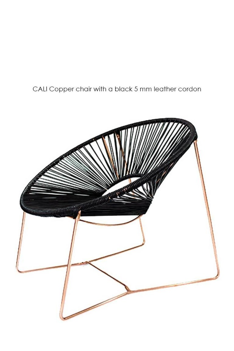 Handwoven Midcentury Inspired Cali Lounge Chair, Copper Plating and Leather For Sale 2