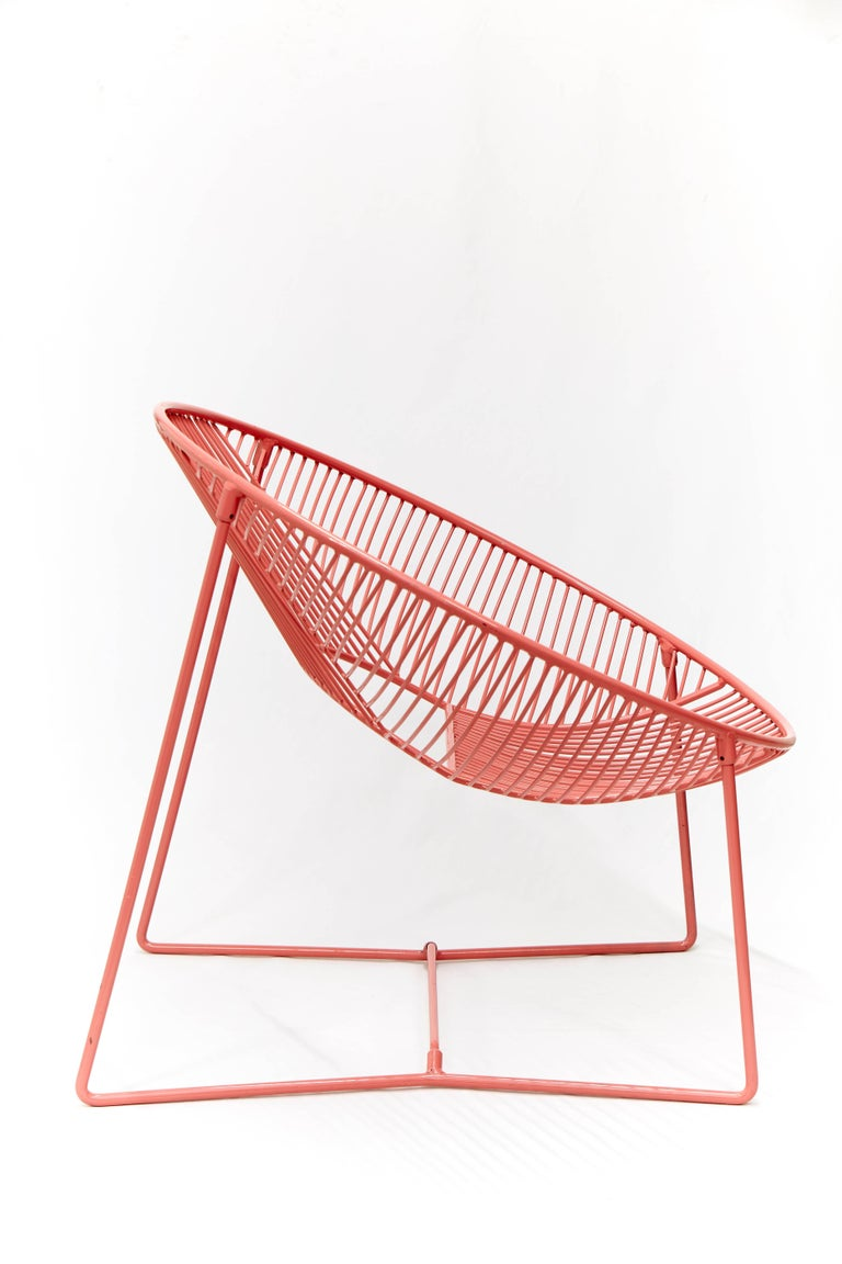 Modern Handcrafted Outdoor Cali Wire Lounge Chair, Powder-Coated Steel For Sale