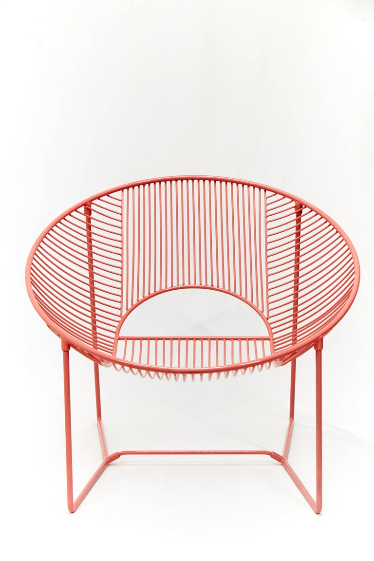 This handcrafted outdoor lounge chair is a unique creation by Leon Leon Design from Mexico City. It features a solid powder-coated steel structure. This chair can be used indoor or outdoor  Handcrafted in small batches, every chair comes with a