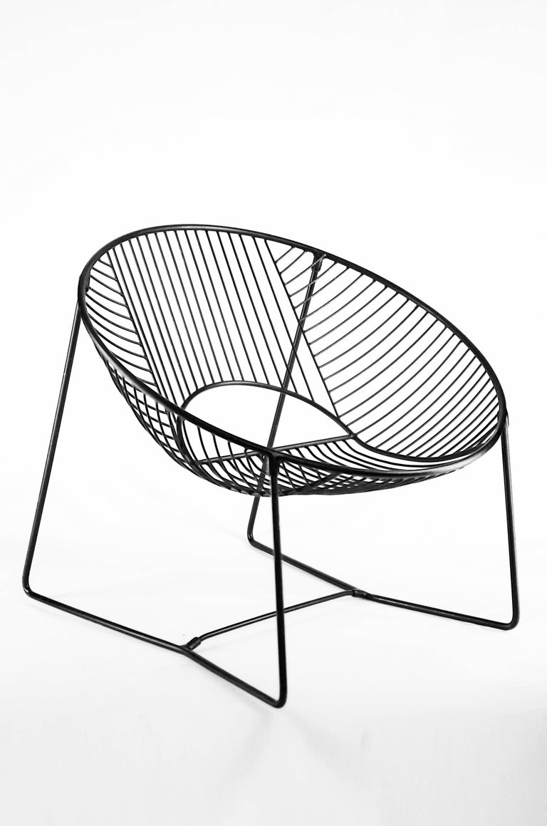 handcrafted outdoor cali wire lounge chair  powder