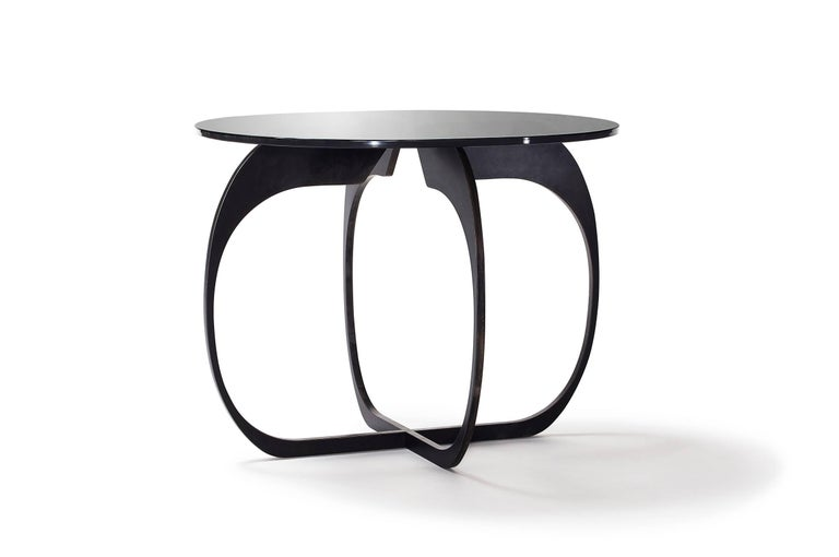Cut Steel Interlock Steel and Smoked Glass Side Table 2017 by Post & Gleam For Sale