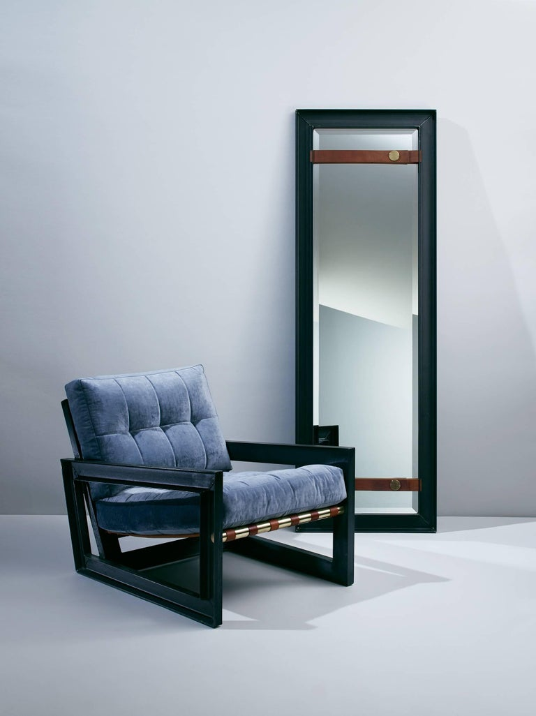 PS1 Full-Length Mirror in Steel with Leather and Brass 2016 by Post & Gleam 2