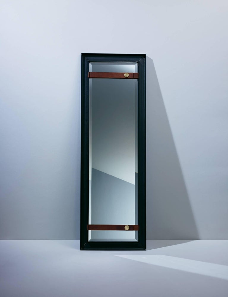 Blackened PS1 Full-Length Mirror in Steel with Leather and Brass 2016 by Post & Gleam For Sale