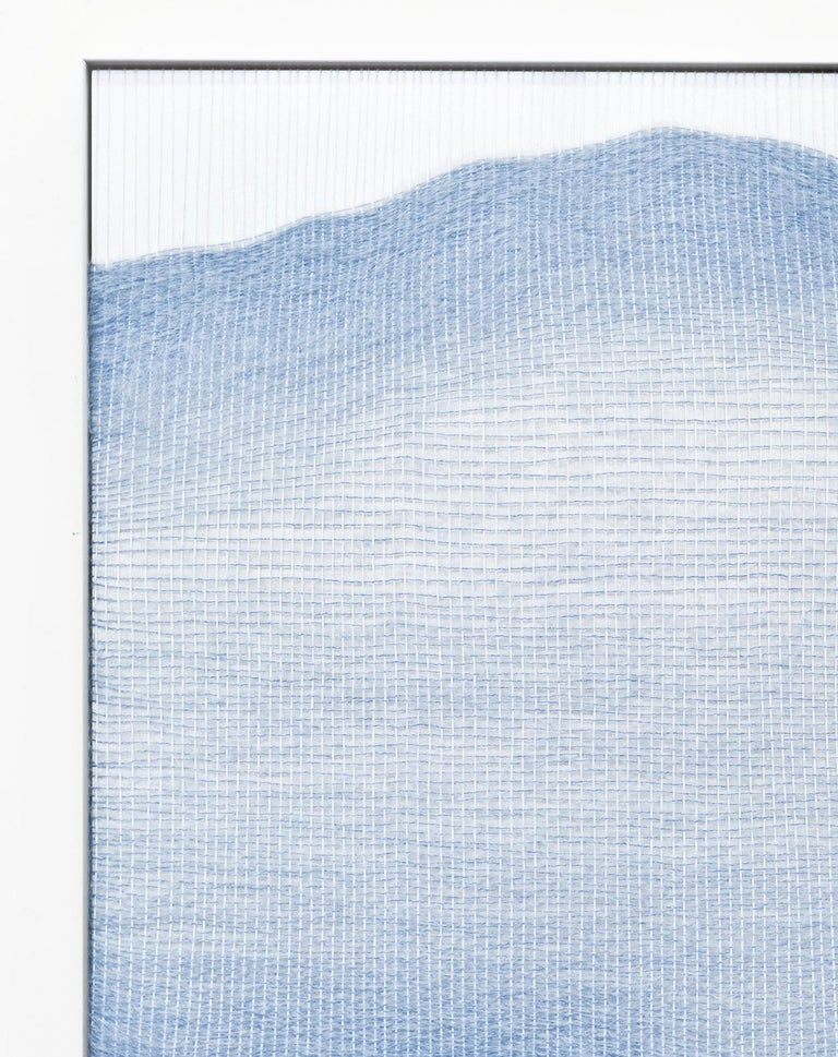 Minimalist Contemporary Handwoven Wall Fiber Art, Pale Blue Live Edge Form by Mimi Jung For Sale