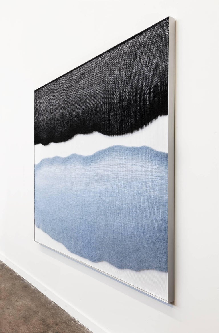 Minimalist Contemporary Handwoven Wall Fiber Art, Pale Blue and Black by Mimi Jung For Sale