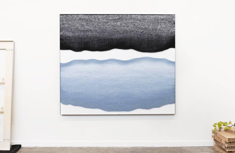 Contemporary Handwoven Wall Fiber Art, Pale Blue and Black by Mimi Jung 5