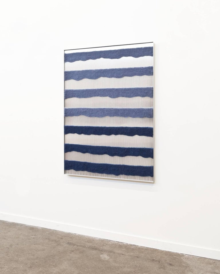 Minimalist Contemporary Handwoven Wall Fiber Art, Periwinkle & Dark Blue by Mimi Jung For Sale