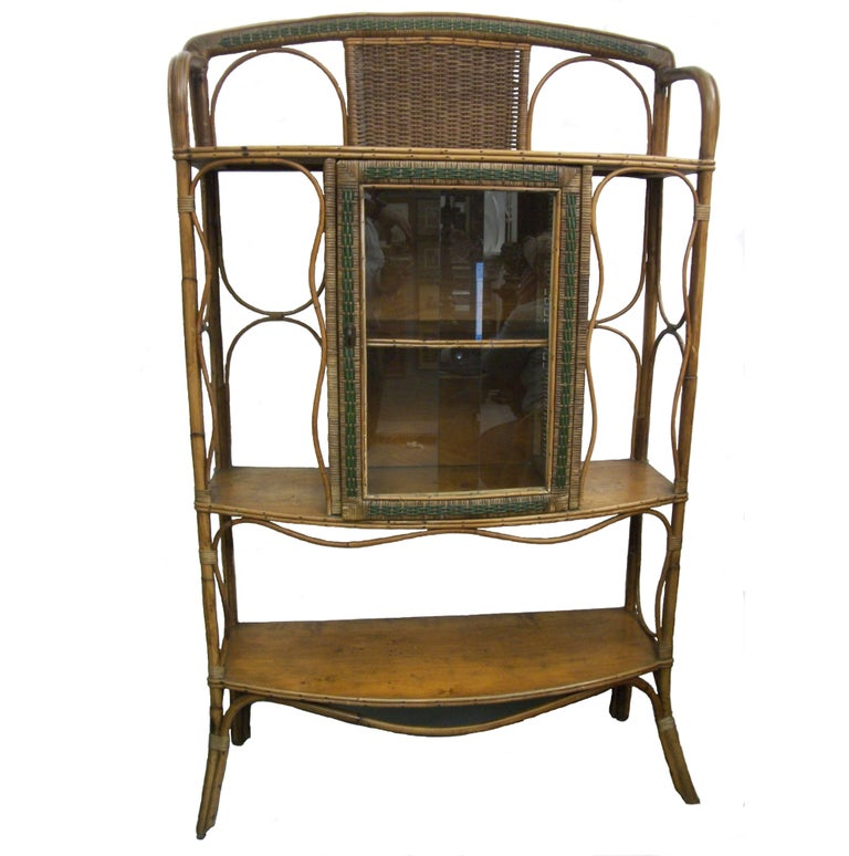 Wicker Rattan Midcentury Cabinet Colonial Style