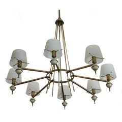 Italian Brass and Opaline Glass Chandelier from Stilnovo, 1950s