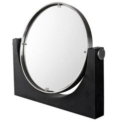 Angelo Mangiarotti Marble and Steel Vanity Table Mirror Round, Italy, 1970s