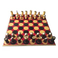 1970s Modernist Painted and Gilded Wood Chess Set
