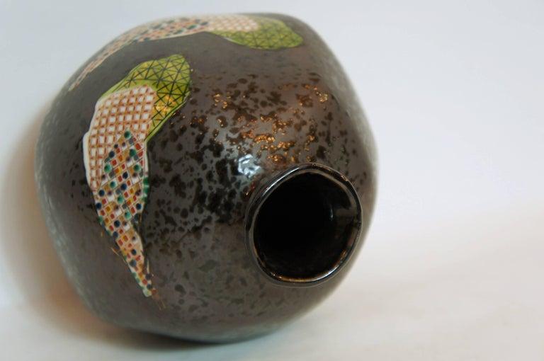 Porcelain Japanese Dark Gray Base Color with Mosaic Motif on Kutani Ware Vase,1950s For Sale