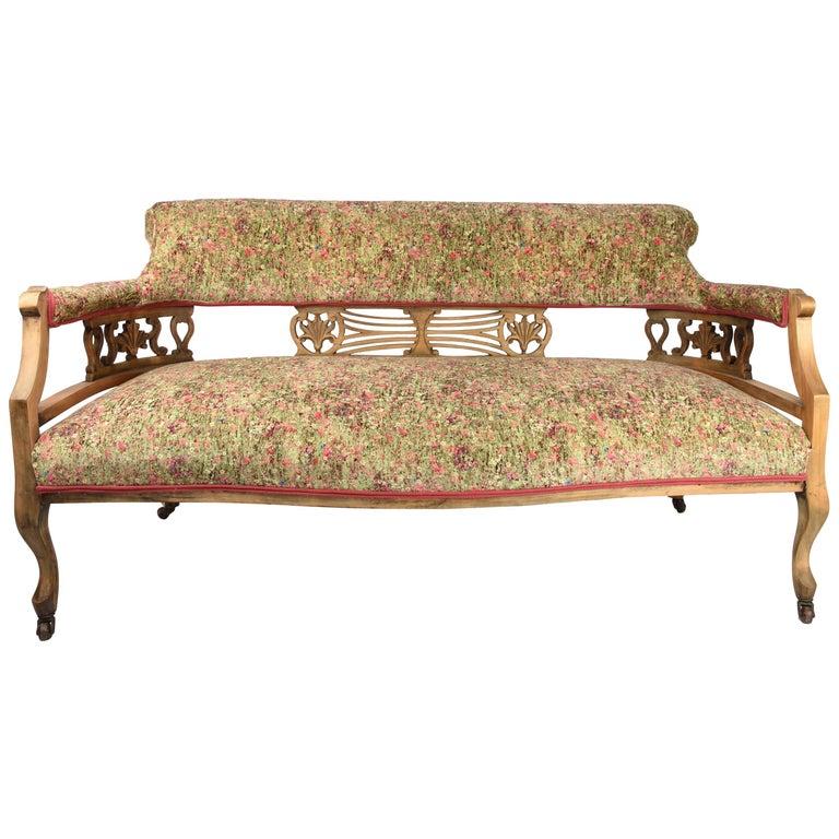 19th Century Victorian Velvet Flower Sofa
