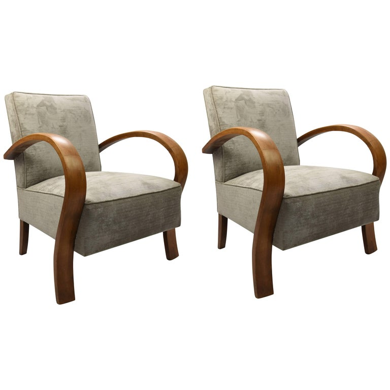 French Art Deco Club Chair in a Grey Crush Velvet Fabric