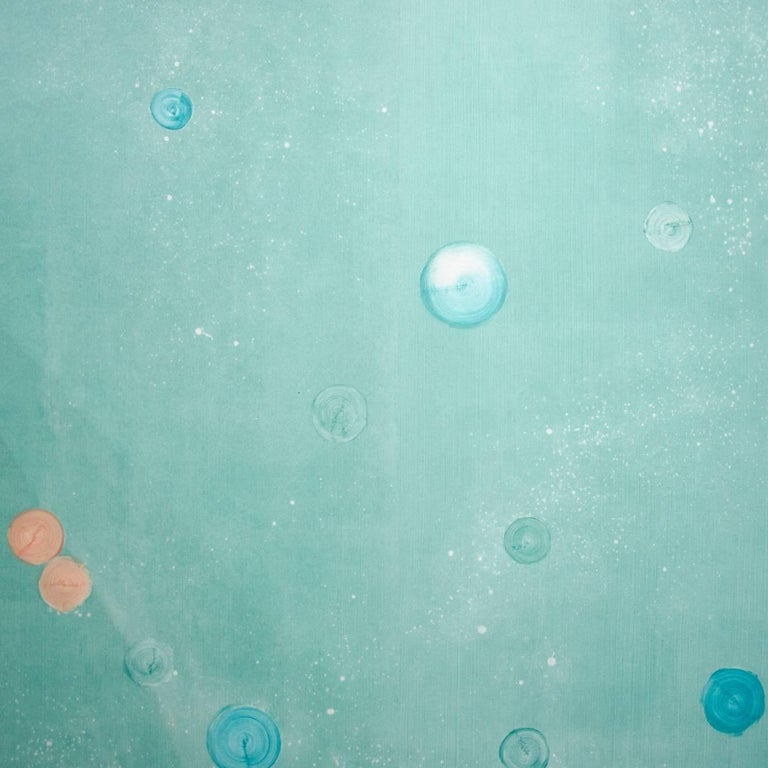 SARKOS METEORA in CHLOROS Teal Atmospheric Contemporary Hand-Painted Wallpaper