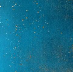 Sarkos Cosmos in Corinthian Sea Golden Leaf Hand-Painted Contemporary Wallpaper