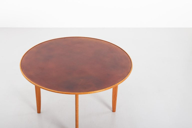 Leather Dining Table by David Rosén for Nordiska Kompaniet, Sweden, 1950s For Sale