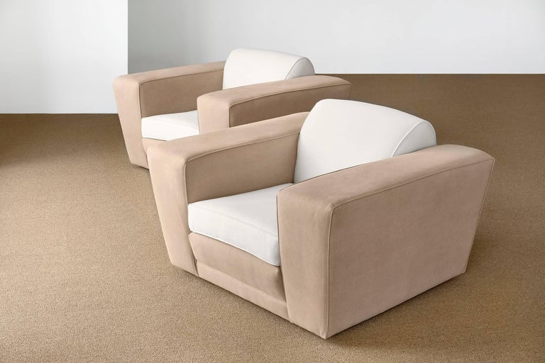 Mid-20th Century Paul Frankl, Club Lounge Chairs Light Beige Velvet, Beige Cotton, America, 1940s For Sale