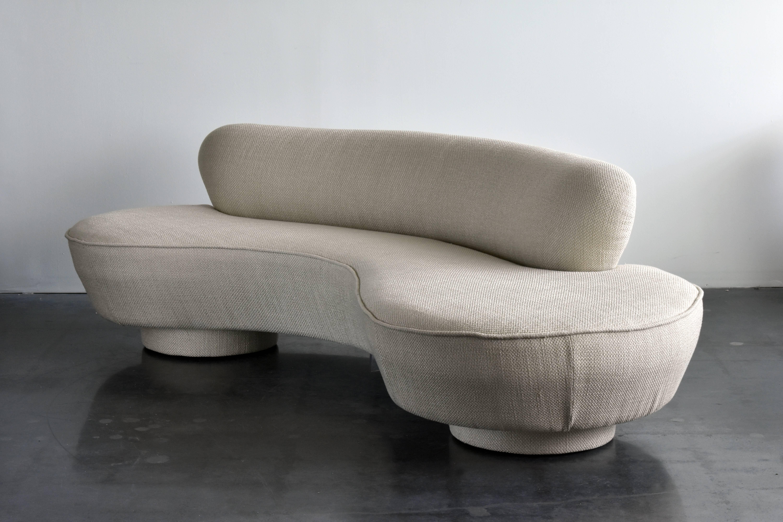 Mid Century Modern Vladimir Kagan, Organic Sofa Light Grey Chenille Fabric,  Circa 1975
