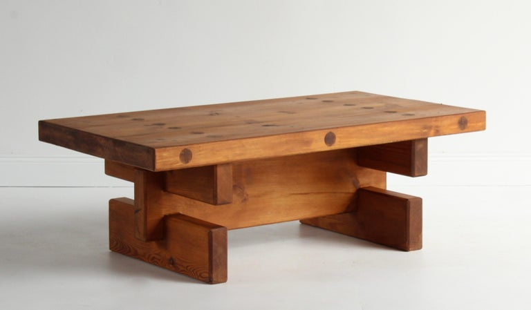 Mid-20th Century Roland Wilhelmsson, Unique Signed Coffee Table, Pine, Studio of Artist 1968 For Sale