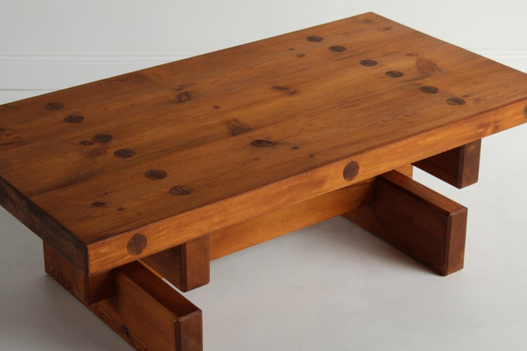 Roland Wilhelmsson, Unique Signed Coffee Table, Pine, Studio of Artist 1968 For Sale 4
