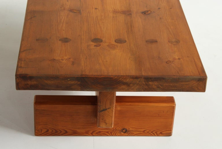 Roland Wilhelmsson, Unique Signed Coffee Table, Pine, Studio of Artist 1968 For Sale 5