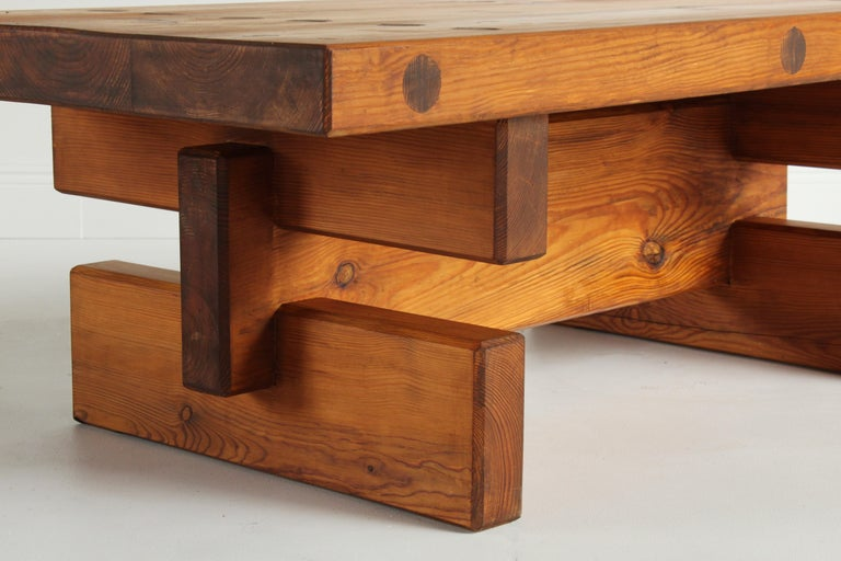 Roland Wilhelmsson, Unique Signed Coffee Table, Pine, Studio of Artist 1968 In Good Condition For Sale In West Palm Beach, FL