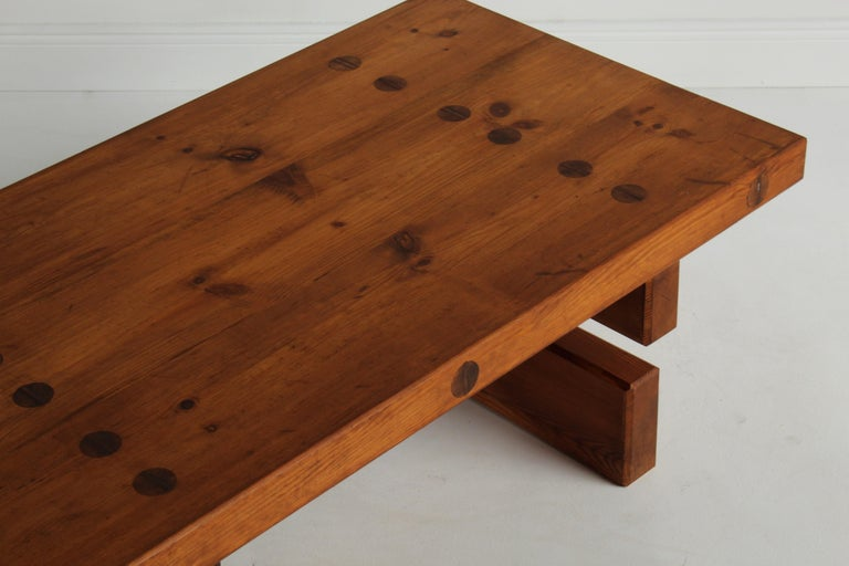 Roland Wilhelmsson, Unique Signed Coffee Table, Pine, Studio of Artist 1968 For Sale 2