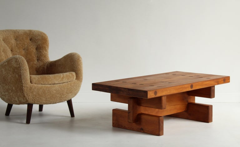 Scandinavian Modern Roland Wilhelmsson, Unique Signed Coffee Table, Pine, Studio of Artist 1968 For Sale