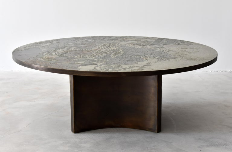 American Philip & Kelvin LaVerne, Rare Coffee Table Acid-Etched Pewter, Bronze, 1960s For Sale