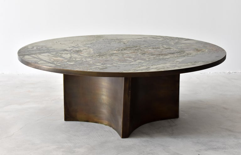 Mid-20th Century Philip & Kelvin LaVerne, Rare Coffee Table Acid-Etched Pewter, Bronze, 1960s For Sale
