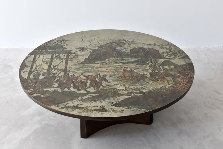 Mid-Century Modern Philip & Kelvin LaVerne, Rare Coffee Table Acid-Etched Pewter, Bronze, 1960s For Sale