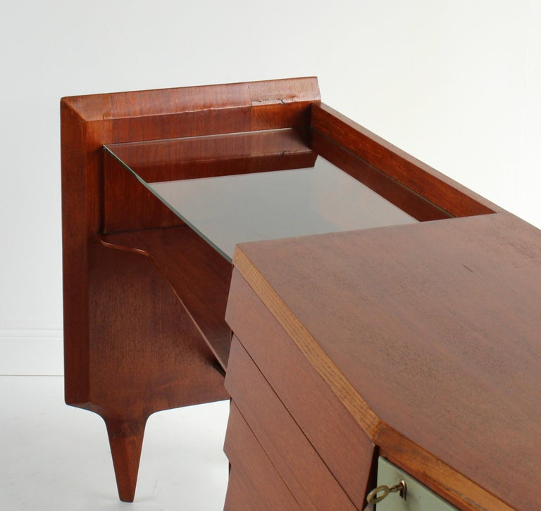 Gio Ponti, Rare Asymmetric Sideboard Mahogany Glass Vinyl Brass, Italy, 1950s For Sale 4