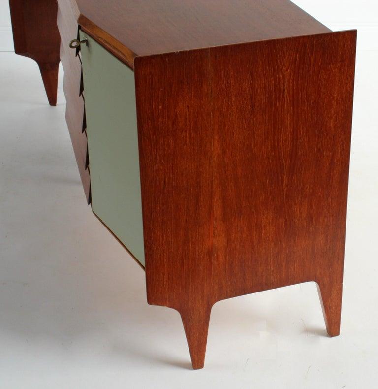 Gio Ponti, Rare Asymmetric Sideboard Mahogany Glass Vinyl Brass, Italy, 1950s For Sale 9