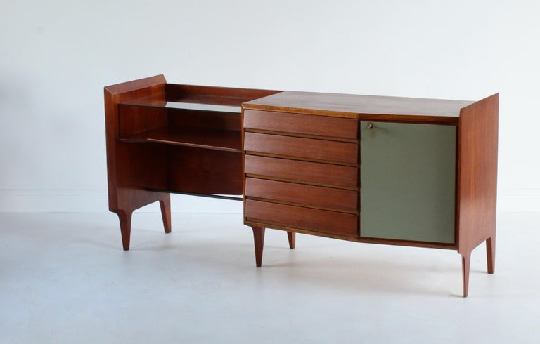 Gio Ponti, Rare Asymmetric Sideboard Mahogany Glass Vinyl Brass, Italy, 1950s In Good Condition For Sale In West Palm Beach, FL