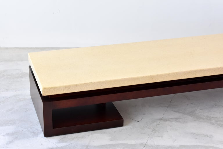 Mid-Century Modern Paul Frankl, Low Coffee Table, Painted Cork, Stained Mahogany, 1940s America For Sale