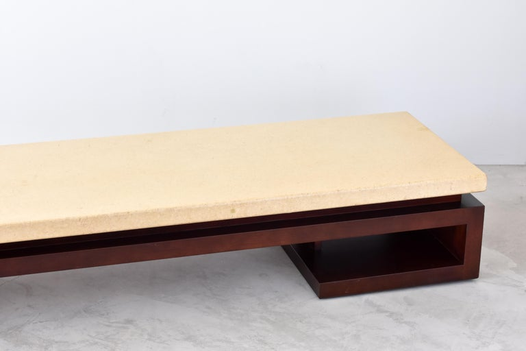 American Paul Frankl, Low Coffee Table, Painted Cork, Stained Mahogany, 1940s America For Sale