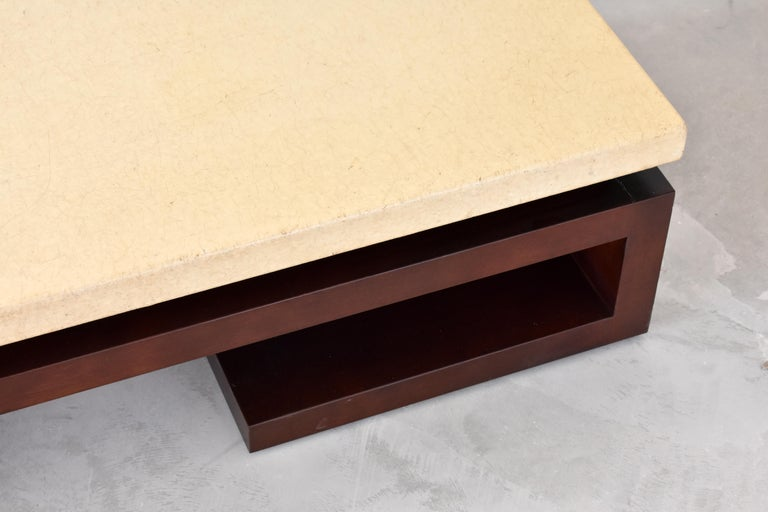 Mid-20th Century Paul Frankl, Low Coffee Table, Painted Cork, Stained Mahogany, 1940s America For Sale