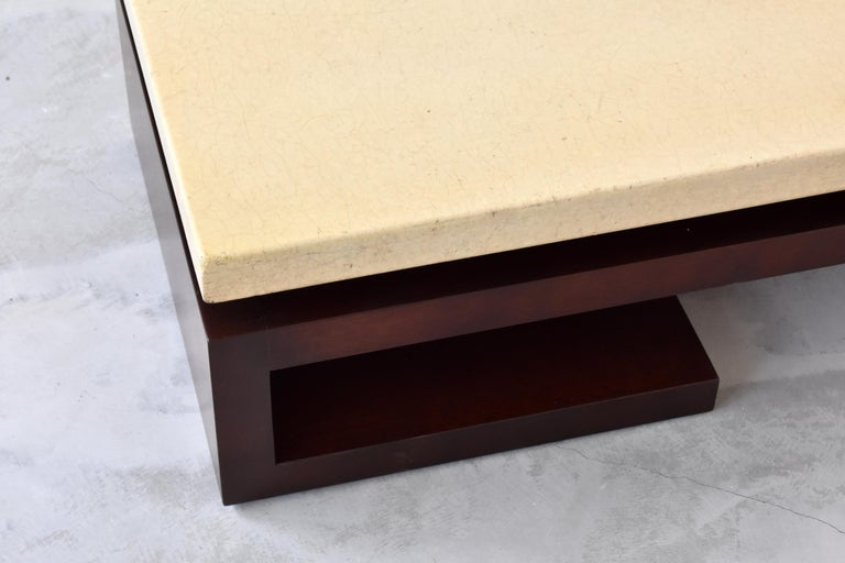 Paul Frankl, Low Coffee Table, Painted Cork, Stained Mahogany, 1940s America In Good Condition For Sale In West Palm Beach, FL